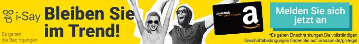 Ipsos I-Say Banner, Ipsos I-Say Logo, gelbes BIld, Amazongutschein am BIld, mit online Umfragen Geld verdienen