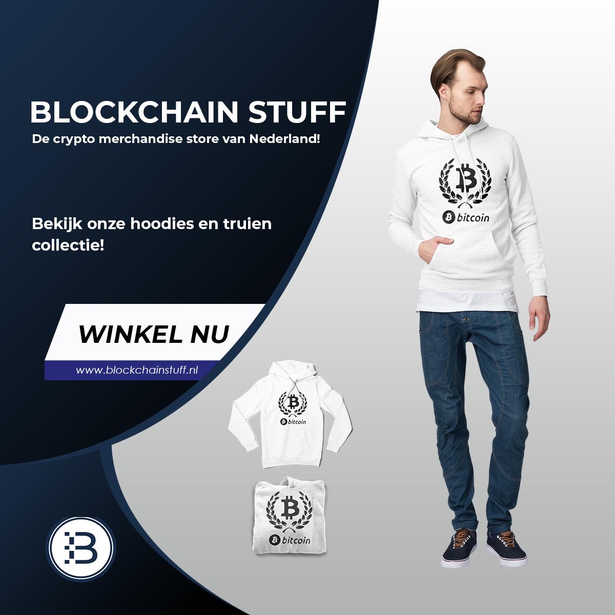 Kleding met bitcoin print. Telefoonhoesje met bitcoin teken. Koffiemok met bitcointeken, sweat shirt met bitcoin.
