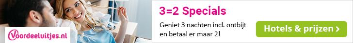 Voordeeluitjes - Kampioen in arrangementen : 3 = 2 aanbiedingen (1 nacht gratis)