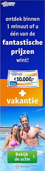 direct kans maakt op € 10.000,- plús een vakantie t.w.v € 7.500,- en nog 3 andere vette prijzen.
