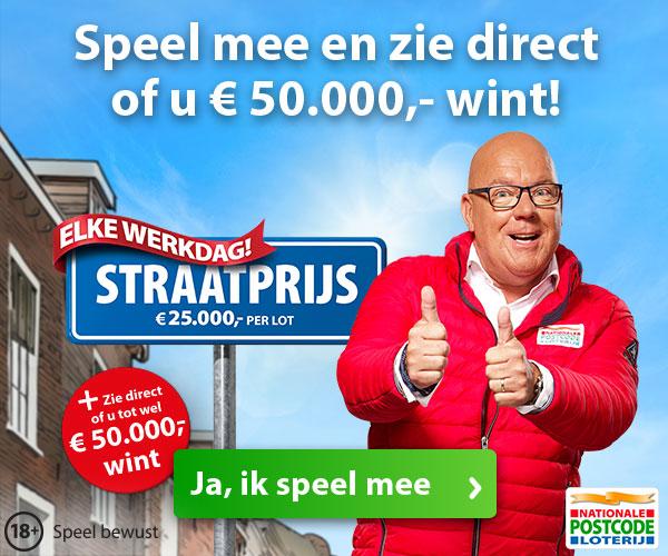 Elke werkdag € 25000,- Cash per lot.Meespelen is kans maken op de mooiste prijzen.Bij de Postcode loterij is de eerste maand Gratis!