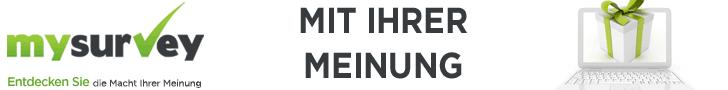 Mysurvey Banner, mysurvey Logo, Laptop als Geschenk Bild, mit Umfragen Geld verdienen